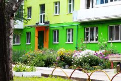 Colorful facade of building in Russia. Outdoors stock image