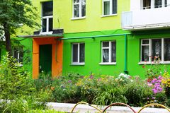 Colorful facade of building in Russia. Outdoors royalty free stock image