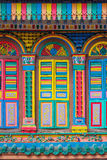 Colorful facade of building in Singapore. Colorful facade of building in Little India, Singapore royalty free stock image