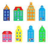 Colorful facade of burgher house, Vector illustration isolated on white background, Representatives of european Royalty Free Stock Photography