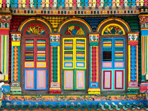Colorful Facade of Famous Building in Little India, Singapore. City, Singapore stock photos