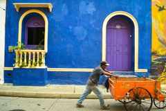 Cartagena,Colombia, July 28 2017, Colorful facade in the Getsemani neighborhood in Cartagena Colombia stock photography