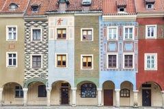 Colorful facade of houses in Poznan. Stock Photos