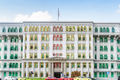 Colorful facade of the Old Hill Street Police Station, Singapore. Singapore - February 19, 2017: Colorful facade of the Old Hill Street Police Station. The stock images