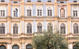 Colorful facade of an old houses in Pula, Croatia. Stock Photo
