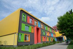 Colorful facade of the school of arts Royalty Free Stock Photography