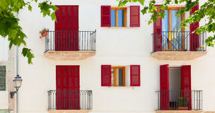 Colorful facade of spanish house in Majorca Stock Image