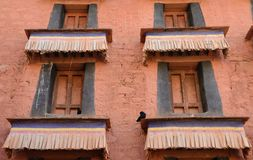 Colorful facade of Tibetan house Stock Photos