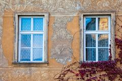 A colorful facade and windows on an old building covered with vines. Czech Republic stock photography