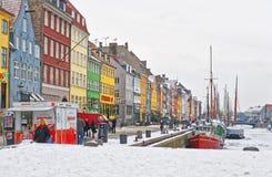 Colorful facades along Nyhavn in Copenhagen in Denmark in winter Royalty Free Stock Photo