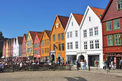 Colorful facades of Bergen's landmark, Bryggen - Norway Royalty Free Stock Image