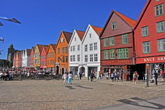 Colorful facades of Bergen's landmark, Bryggen - Norway Stock Photography