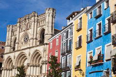 Colorful facades and Cathedral of Cuenca, Spain Royalty Free Stock Photos