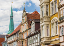 Colorful facades and church tower in the center of Hameln Royalty Free Stock Images