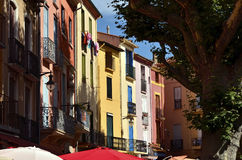 Colorful facades of Collioure in France Stock Photo