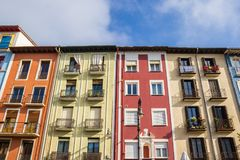 Colorful facades of historic houses in Pamplona. Spain Stock Photography