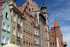 Colorful facades of houses of the Gdansk old town, Poland Stock Images