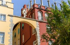 Facades of houses in Riva. Colorful facades of houses in Riva on Lake Garda in Italy royalty free stock images