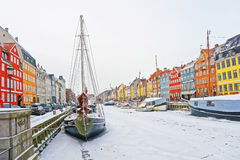 Colorful Facades Of Nyhavn In Copenhagen In Denmark In Winter Royalty Free Stock Photos
