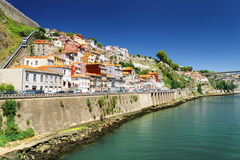 Colorful facades of old houses on embankment of the Douro River Royalty Free Stock Image