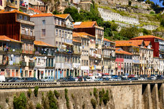 Colorful facades of old houses on embankment of the Douro River Royalty Free Stock Images