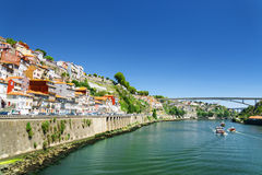 Colorful facades of old houses on embankment of the Douro River Royalty Free Stock Photo