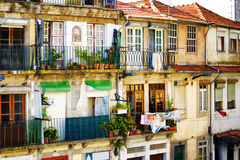 Colorful facades of old houses in Porto, Portugal. Stock Images