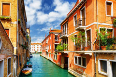 Colorful facades of old houses and the Rio Marin Canal, Venice Stock Image