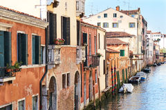 Colorful facades of old medieval houses in Venice Royalty Free Stock Photos
