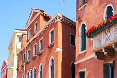 Colorful facades of old medieval houses in Venice. Stock Image