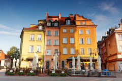 Colorful facades in Old town in Warsaw, Poland Stock Images