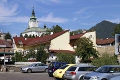 Colorful facades of Ruzomberok. Town Ruzomberok in Liptov region in Slovakia royalty free stock photography