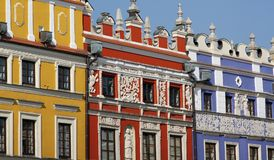 Colorful facades of townhouses stock photo