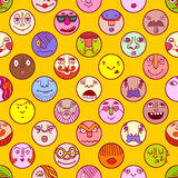 Colorful face avatar expression icons Stock Photography