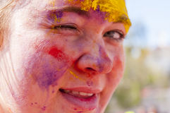 Colorful face in the indian festival Holi Royalty Free Stock Photos