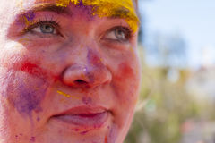 Colorful face in the indian festival Holi Stock Photo