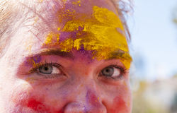 Colorful face in the indian festival Holi Stock Images