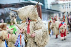 Colorful face of Kurent, Slovenian traditional mask. Traditional mask used in februar for winter persecution, carnival time, Slovenia. Roots draws from the Royalty Free Stock Image