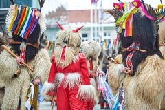 Colorful face of Kurent, Slovenian traditional mask. Traditional mask used in februar for winter persecution, carnival time, Slovenia. Roots draws from the Stock Photos