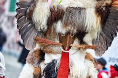 Colorful face of Kurent, Slovenian traditional mask. Traditional mask used in februar for winter persecution, carnival time, Slovenia. Roots draws from the Royalty Free Stock Photography