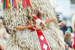 Colorful face of Kurent, Slovenian traditional mask. Traditional mask used in februar for winter persecution, carnival time, Slovenia. Roots draws from the Stock Photo