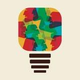 Colorful face make bulb shape. Stock Royalty Free Stock Image