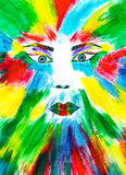 Colorful face painting Stock Image