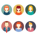 Colorful Faces Circle Icons Set Stock Image