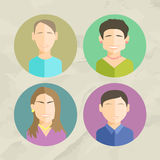 Colorful Faces Circle Icons Set in Trendy Flat Style Stock Images