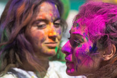 Colorful faces of Holi Festival Stock Images