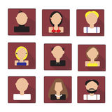 Colorful Faces Icons Set in Flat Style Royalty Free Stock Images