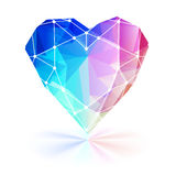 Colorful faceted heart with wire frame. Stock Images