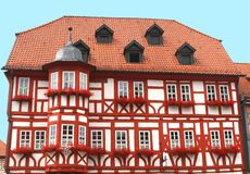 Characteristic colorful half-timbered house Stock Photo