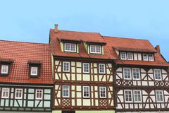 Colorful fachwerk houses in Thuringia, Germany. Colorful fachwerk houses in different colors under a blue sky, Thuringia, Germany Stock Images